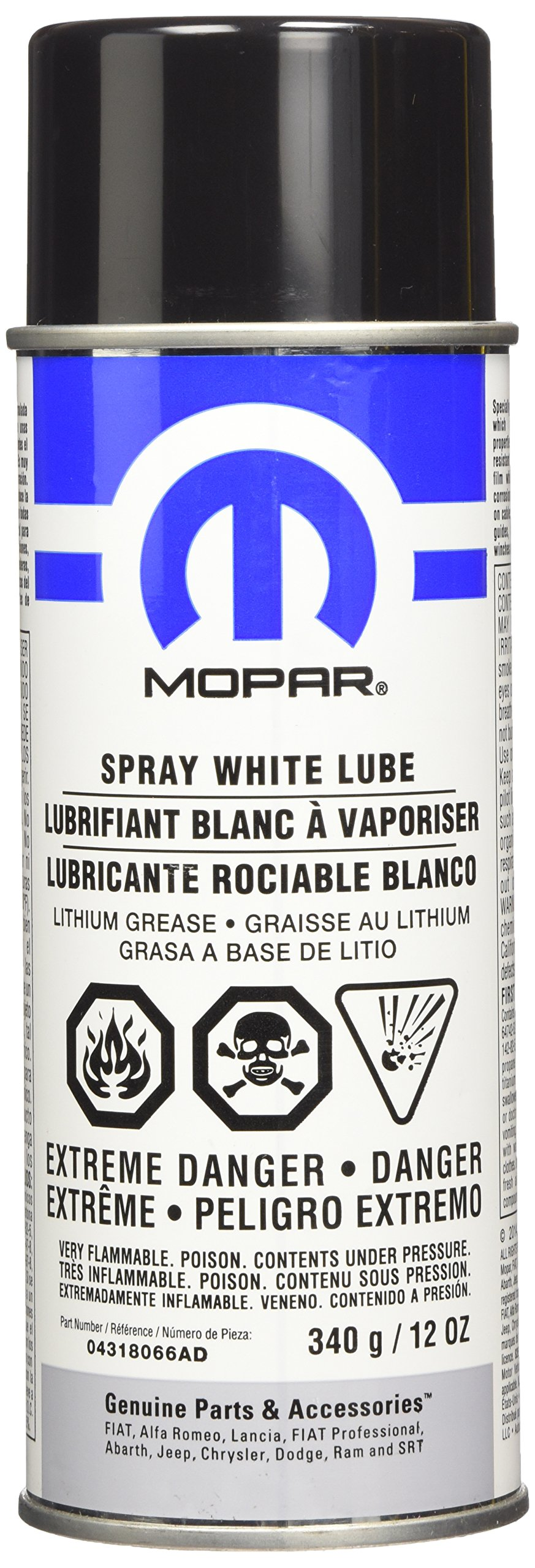 Genuine Chrysler Accessories 4318066AC White Lube Lithium Grease Spray - 12 oz. Aerosol Can