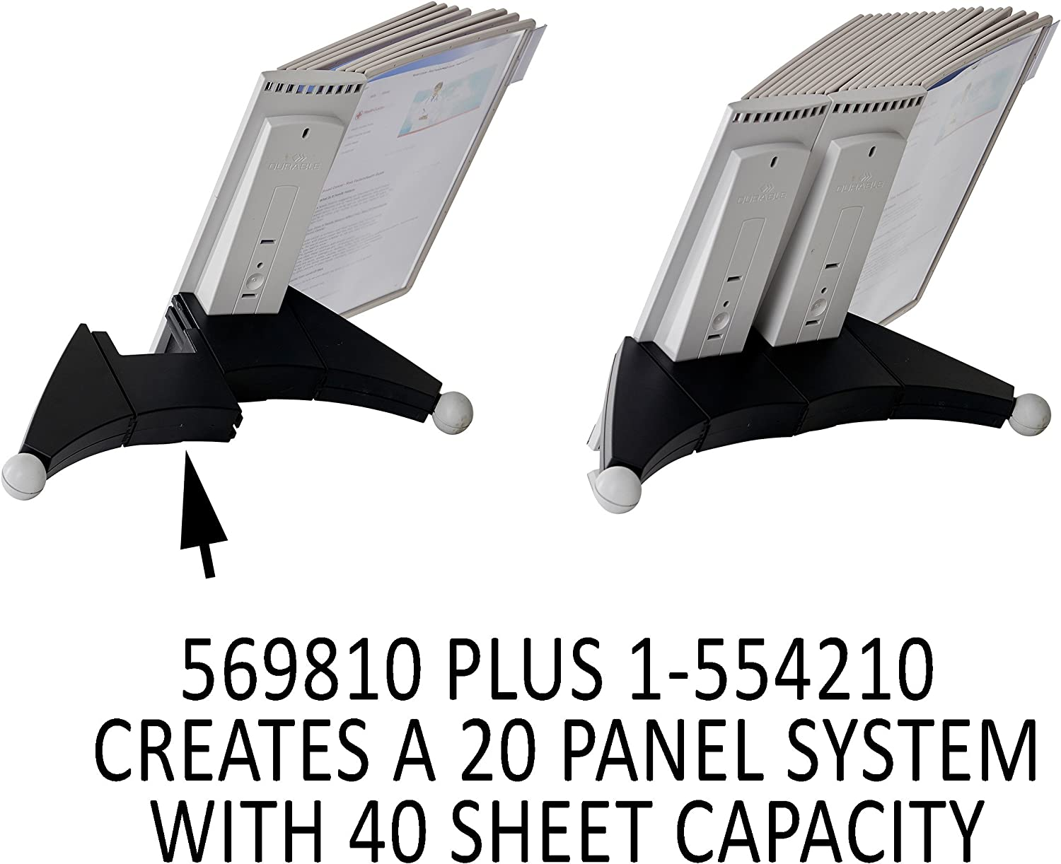 DURABLE Sherpa 10-Panel Desk Reference System Extension Set 569810 Gray Borders