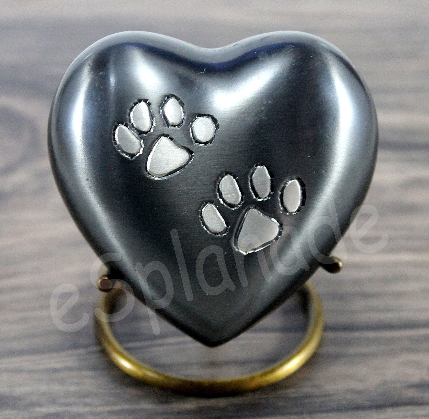 eSplanade Pet Cremation Urn Memorials urn Container Jar Pot | Brass Urn | Metal Urn | Burial Urn | Memorials Keepsake | Pet Dog Cat urn Dogs Cats StonKraft HeartShape_Grey