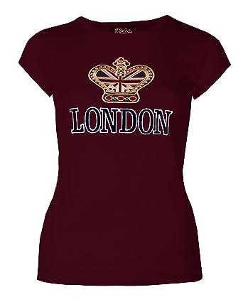 Womens London T-Shirts Ladies Tops Girls Souvenir Union Jack Crown Super  Quality  Amazon.co.uk  Clothing 151c26c42