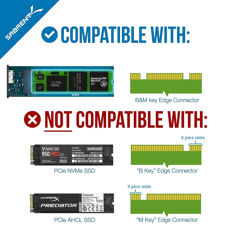 NGFF to USB 3.0 Aluminum Enclosure Sabrent M.2 SSD EC-M2MC