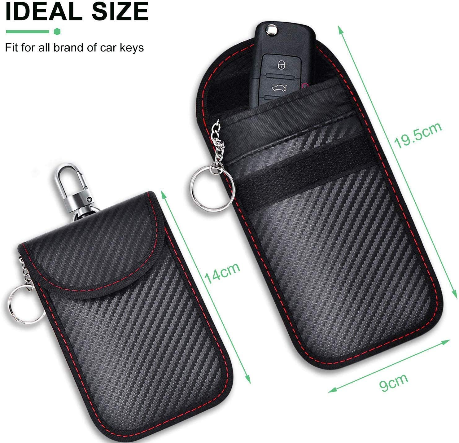 Faraday Bag,RFID Signal Shielding Pocket for Credit Cards,keyless Entry Anti-Theft Carbon Fiber Texture Wallet Case for Privacy Protection 2 Pack Shinyzone Car Key Fob Signal Blocker Pouch