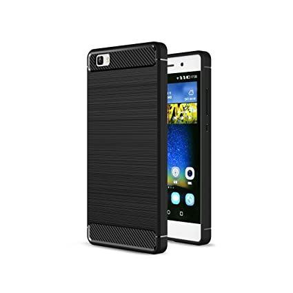 Huawei P8 Lite 2016 Funda,2ndSpring Carcasa Slim Soft Silicon Shockproof Caso Negro Gel de Silicona Fibra de Carbono Funda para P8 Lite cases Suave ...