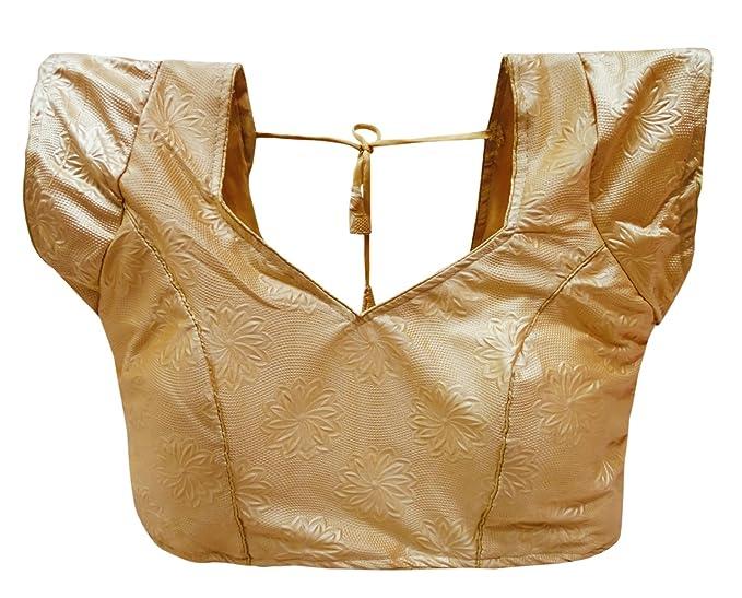 PEEGLI Blusa Saree Cosida De Las Mujeres Indias Tapa Acolchada De La Moda Top: Amazon.es: Ropa y accesorios