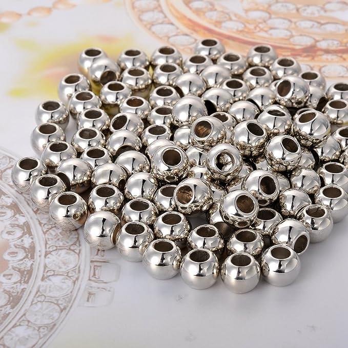 HooAMI 100/piezas de plata tono Gran Agujero espaciador perlas de encanto europeo para pulsera 9/mm de di/ámetro