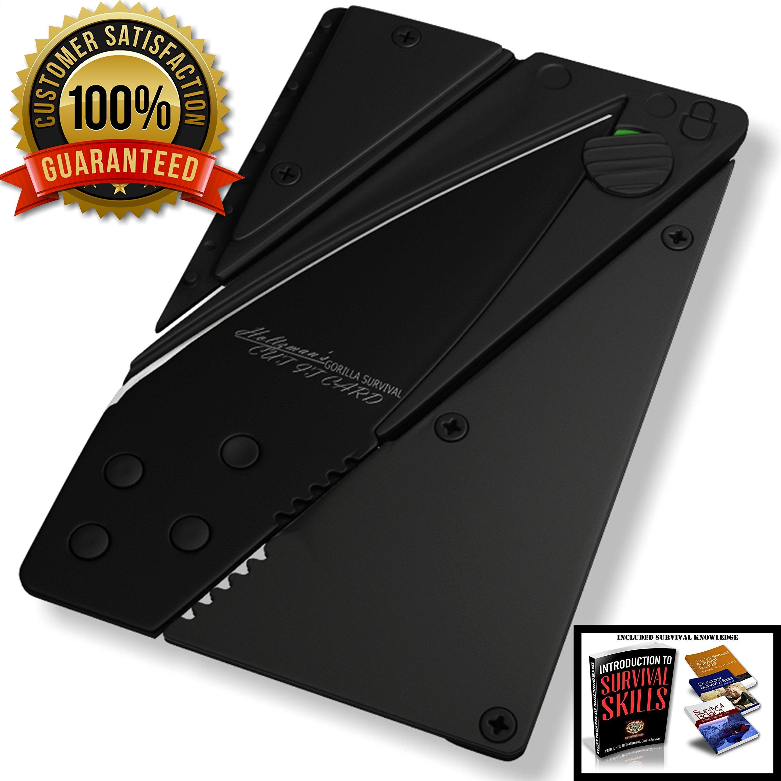 Holtzman's Credit Card Knife #1 Best Wallet Knife (Black)