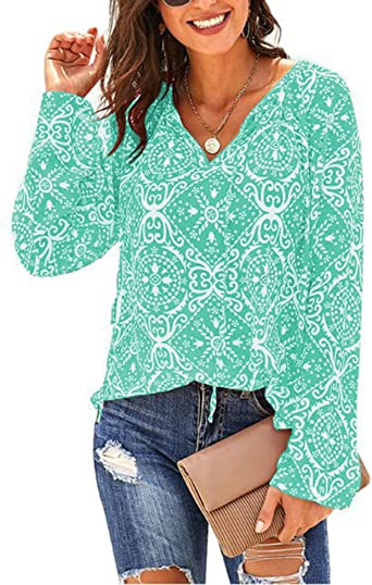 Benficial Women Fashion Casual Long Sleeve V-Neck/ Butterfly Print/ Tops T-Shirt Blouse 2019 Summer New