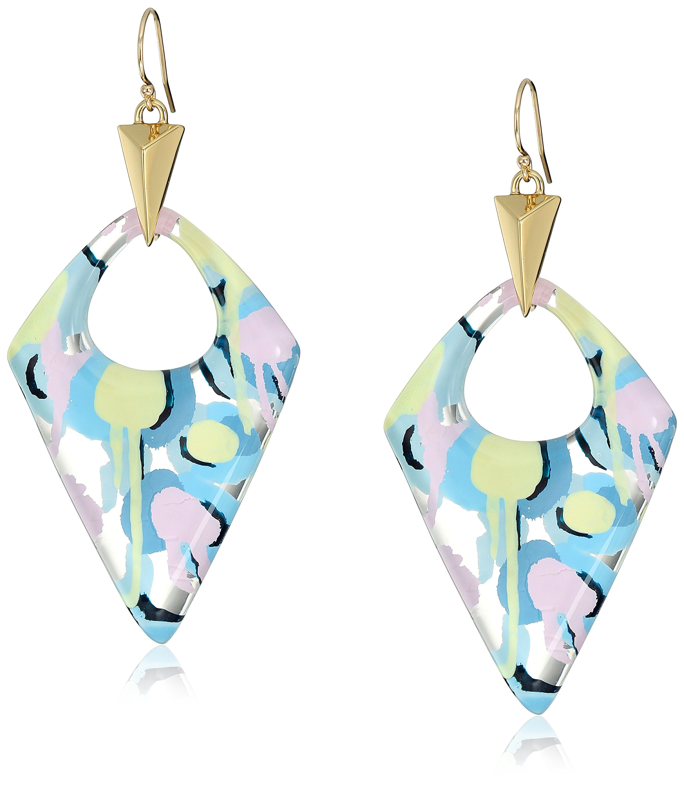 Alexis Bittar Pointed Pyramid Pastel Abstract Poppy Pattern Drop Earrings