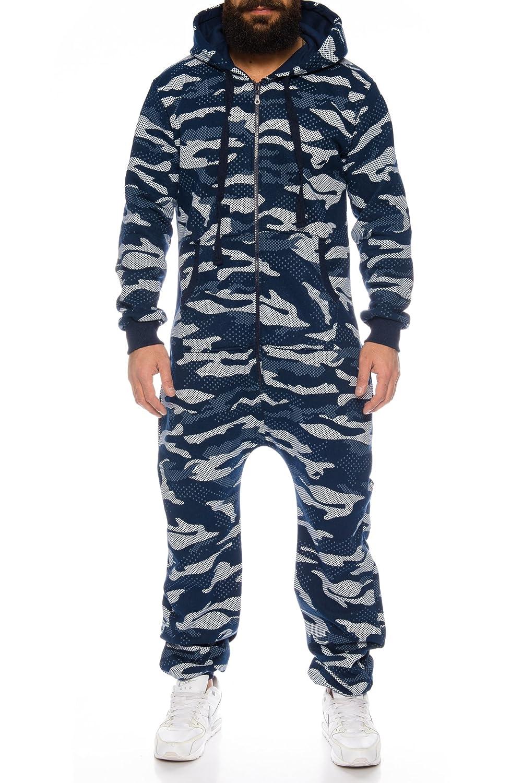 Herren Jumpsuit Overall Strampeler Latzhose Ganzkörperanzug Sweat Camouflage Design. Warm, Weich, Sportlich