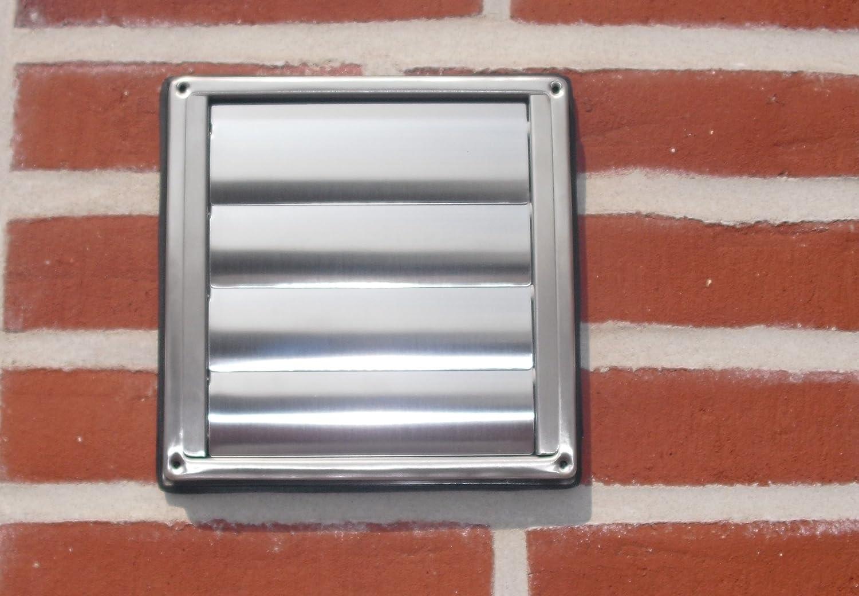 VentilationNord Wetterschutzgitter NW100 Mauerkasten Aussengitter mit Lamellen Edelstahl Dunstabzug WSQLE100