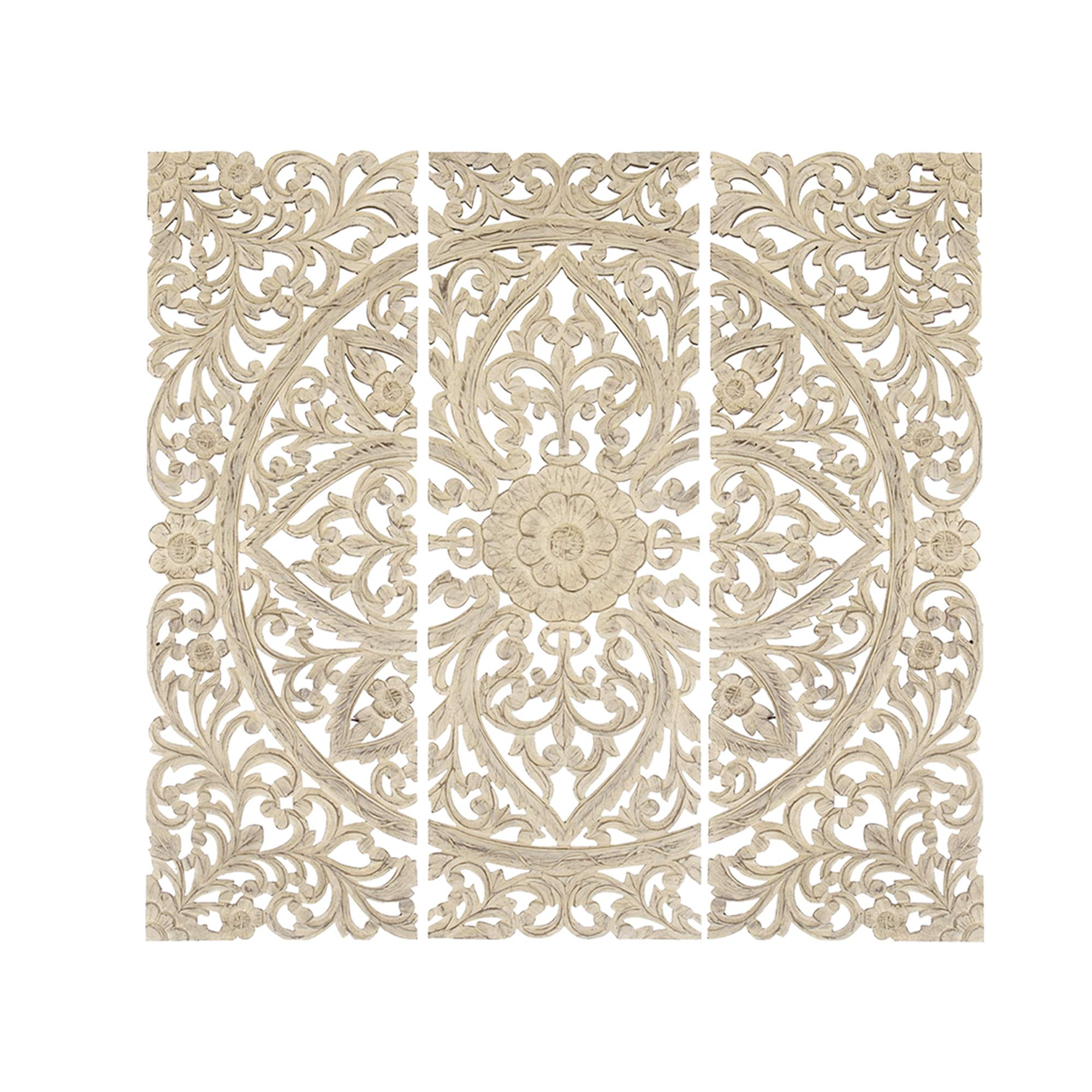 Benzara BM00070 Floral Hand Carved Wooden Wall Plaque, Antique White, Set of 3, Light by Benzara