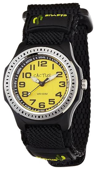 Cactus CAC-45-M10 - Reloj analógico infantil de cuarzo con correa textil negra