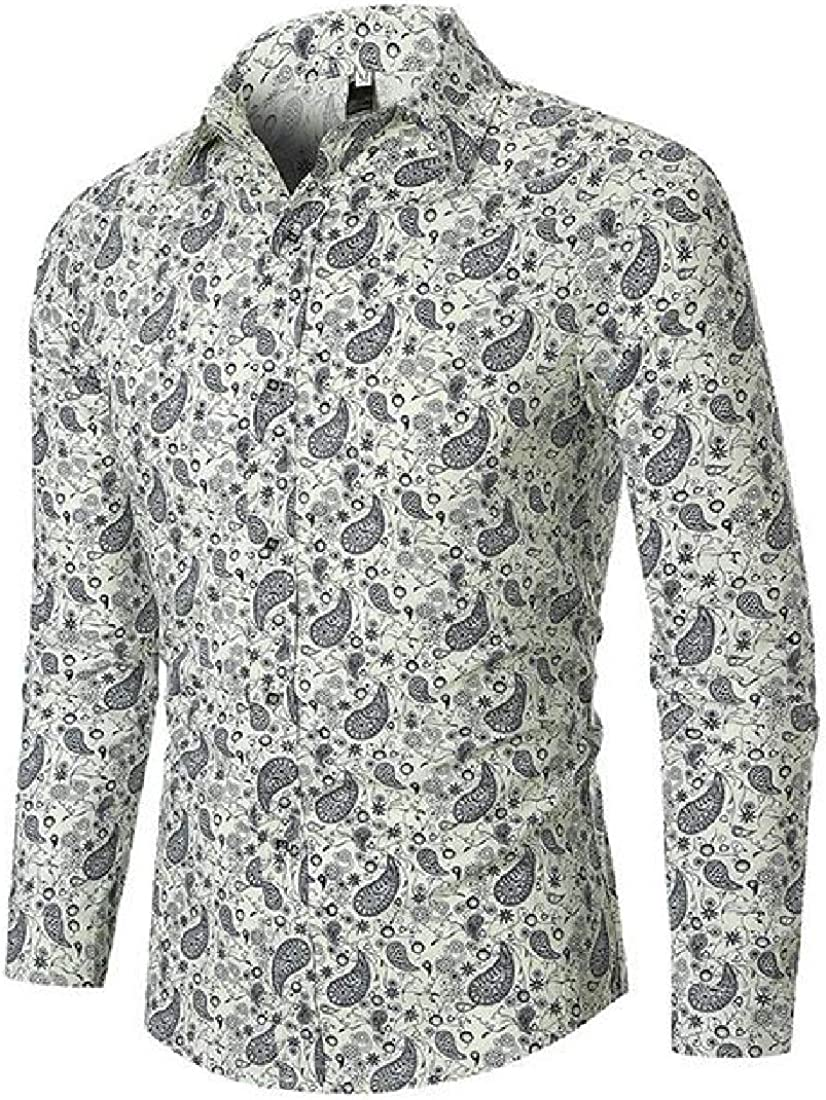 YYear Mens Shirts Regular Fit Long Sleeve Print Casual Button Up Shirt Top