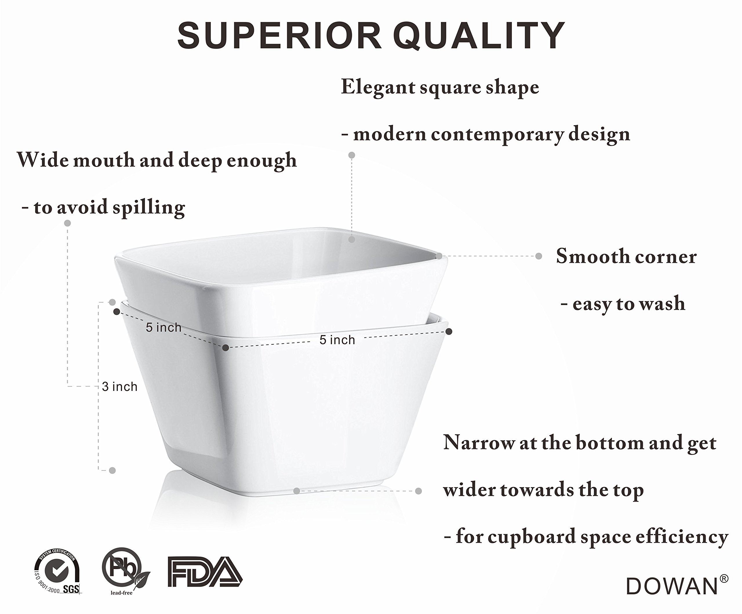 DOWAN 20 Ounce Porcelain Square Cereal Bowls - 6 Packs ,White by DOWAN (Image #4)