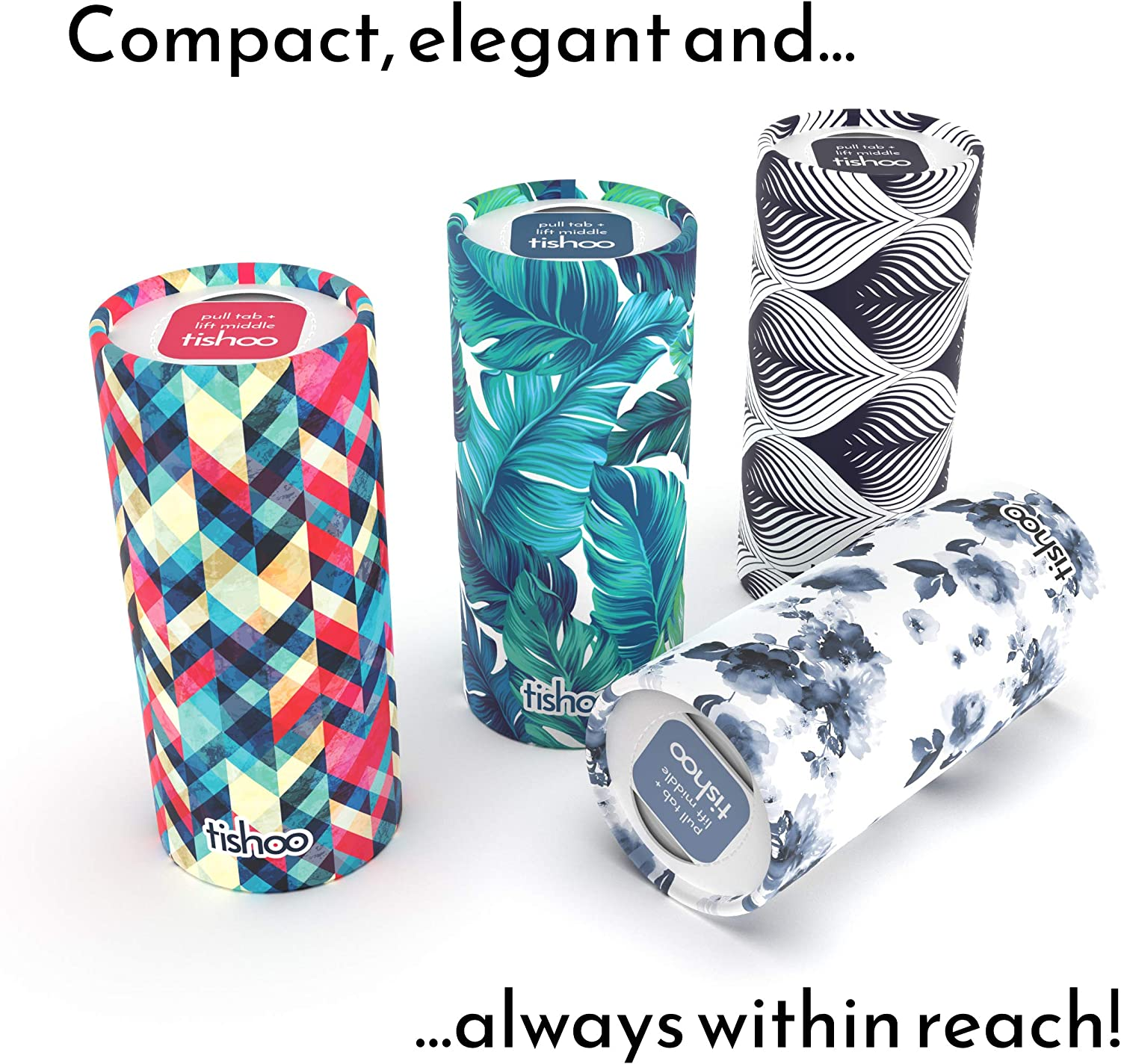 tishoo Car Tissue Tubes for Cup Holders /& Home Green//Leaves Re-useable as a car bin When Empty Stylish /& Compact 16 Tubes in Plastic-Free Packaging Loose Tubes