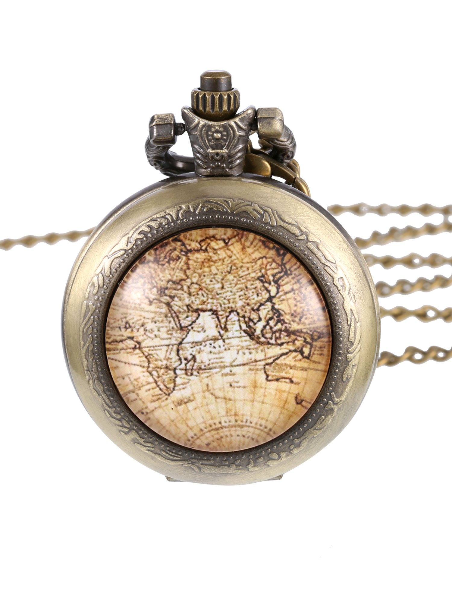 Hicarer Classic Antique Bronze World Map Pocket Watch with Chain
