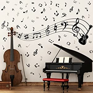 Music Wall Stickers Decals Removable Music Notes Notation Band Wall Decals Vinyl Mural Wallpaper DIY Home Decor for Classroom Living Room Bedroom Kids Music Studio Decoration
