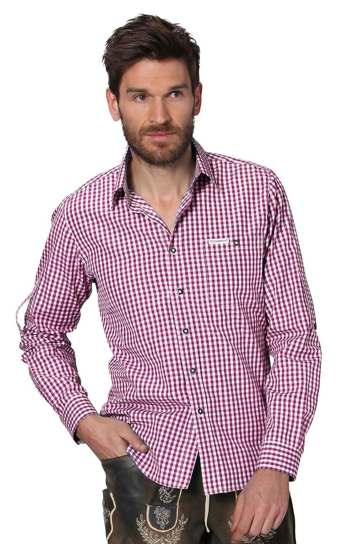 Trachtenhemd Campus2 - stilvolles, kariertes Hemd für viele Gelegenheiten, elegantes Hemd mit Klasse für Männer mit Modebewusstsein und einem Faible für ländliche Gebräuche in Bordeaux