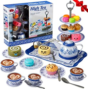 Tea Party Set for Little Girls,Kitchen Pretend Play Toys Tea Set,Princess Play Tea Time With Plastic Tea Cup Dishes,Cake Set Stand,Play Food Set for Toddlers Kids,Child,Play Kitchen Accessories(39PC)