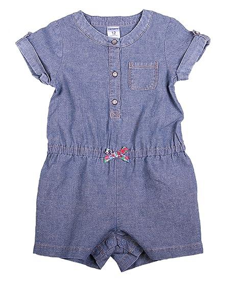 7681afaaf771 Amazon.com  Carter s Baby Girl Denim Chambray Romper (3 Month