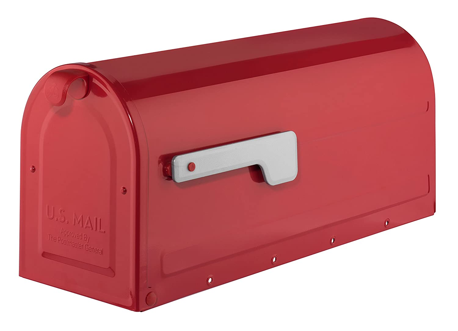 ARCHITECTURAL MAILBOXES 7600R Red with Silver Flag MB1 Post Mount Mailbox Medium