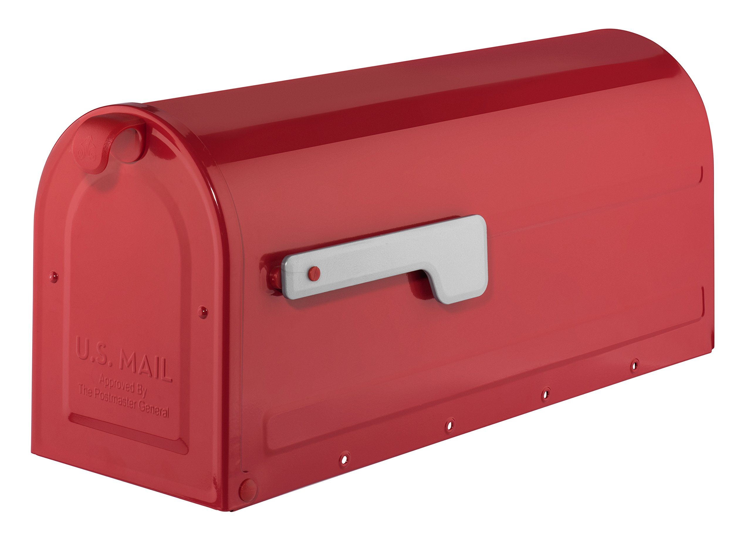 Architectural Mailboxes 7600R MB1 Post Mount Mailbox Red with Silver Flag MB1 Post Mount Mailbox, Medium