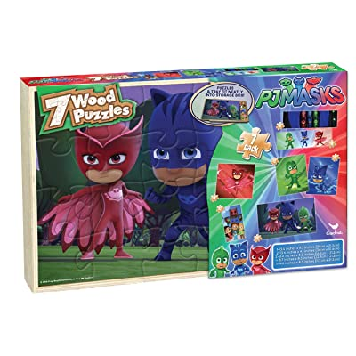 Cardinal Industries PJ Masks 7 Wood Puzzles in Wooden Storage Box (Styles Will Vary): Toys & Games