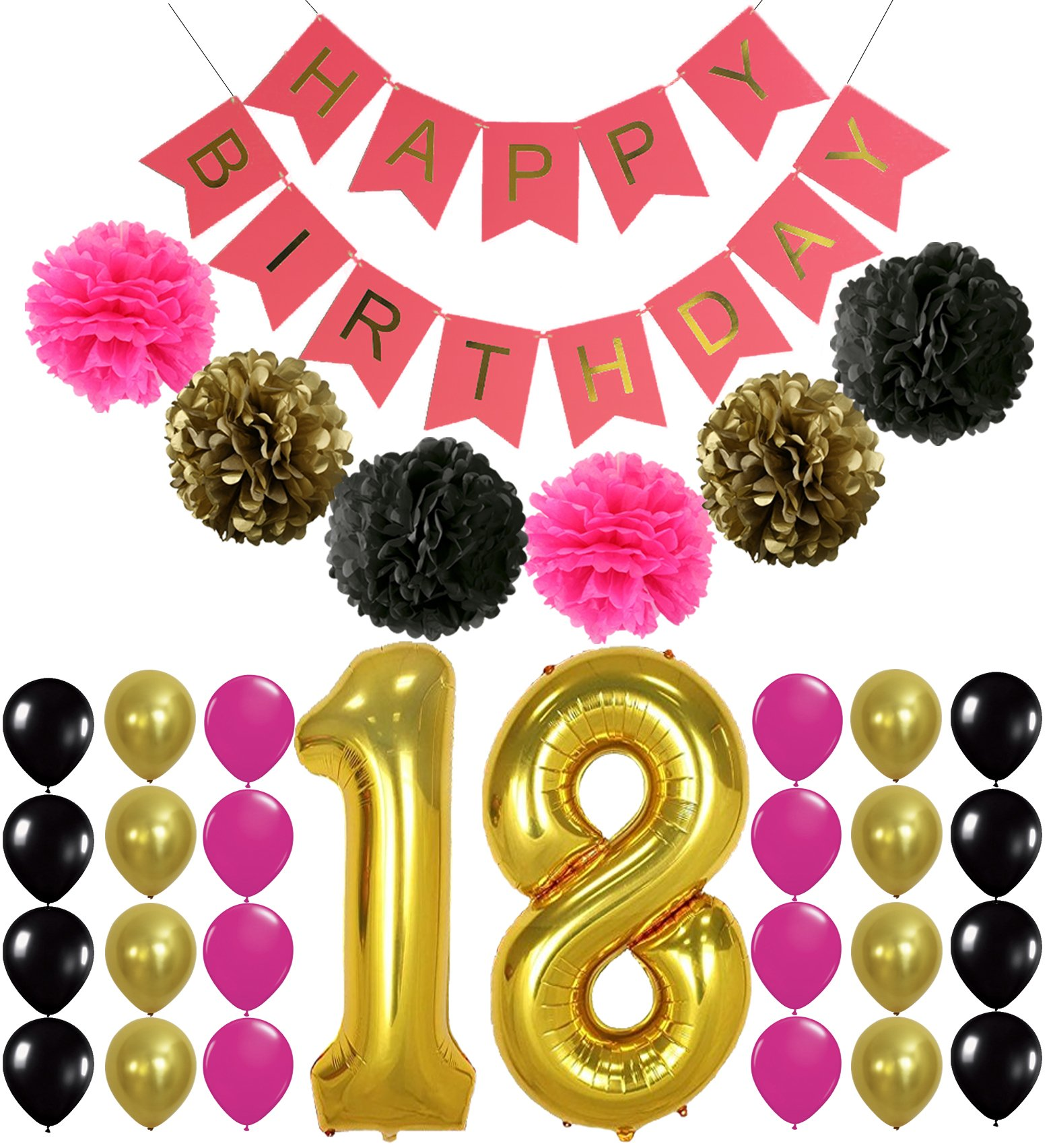 Amazon.com: Gold Happy Birthday Cake Topper 18th Number