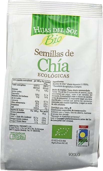 Hijas Del Sol Bio Semillas De Chía - 350 gr - [pack de 5]: Amazon ...