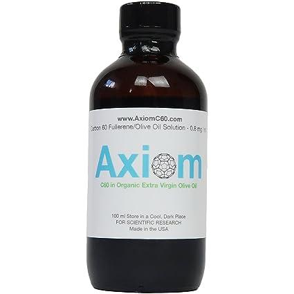 Axiom C60 Olive Oil - 99.9 +% Pure Carbon 60 en aceite de oliva virgen extra ecológico 100ml