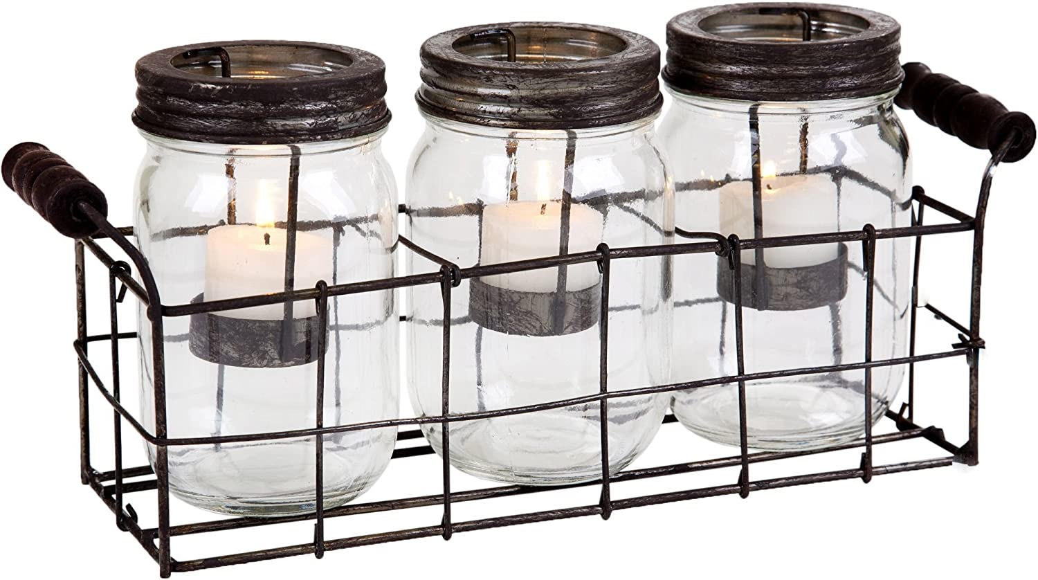 Amazon Com Home Essentials 4543 Mason Jars Votive With Metal Rack In Gb Set Of 3 Clear Kitchen Dining