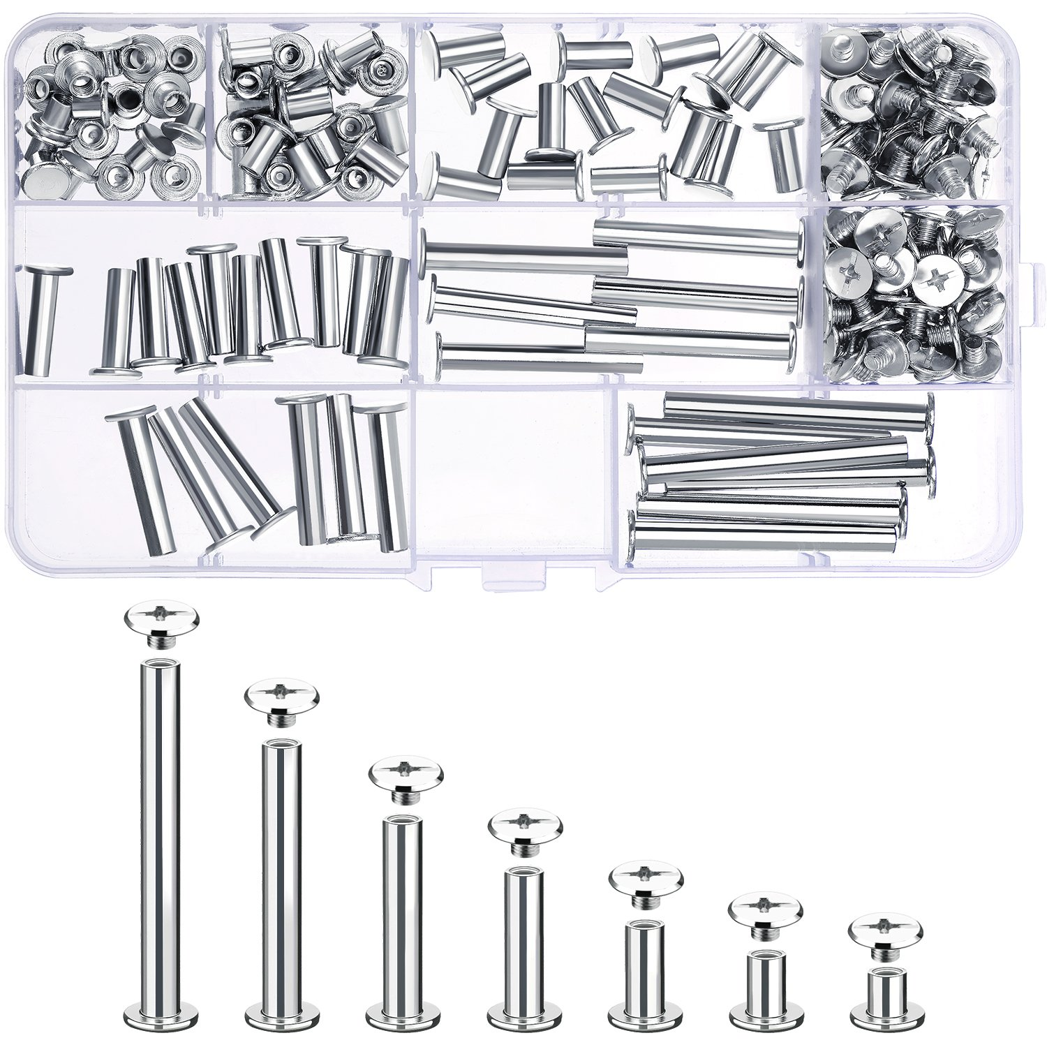 Pangda 80 Set Chicago Binding Screws Assorted Kit 7 Different Sizes Metal Round Cross Head Stud Screw Posts Nail Rivet Chicago Button for DIY Leather Decoration Bookbinding 4336863922