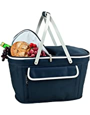 Picnic at Ascot Collapsible Basket Cooler, Navy