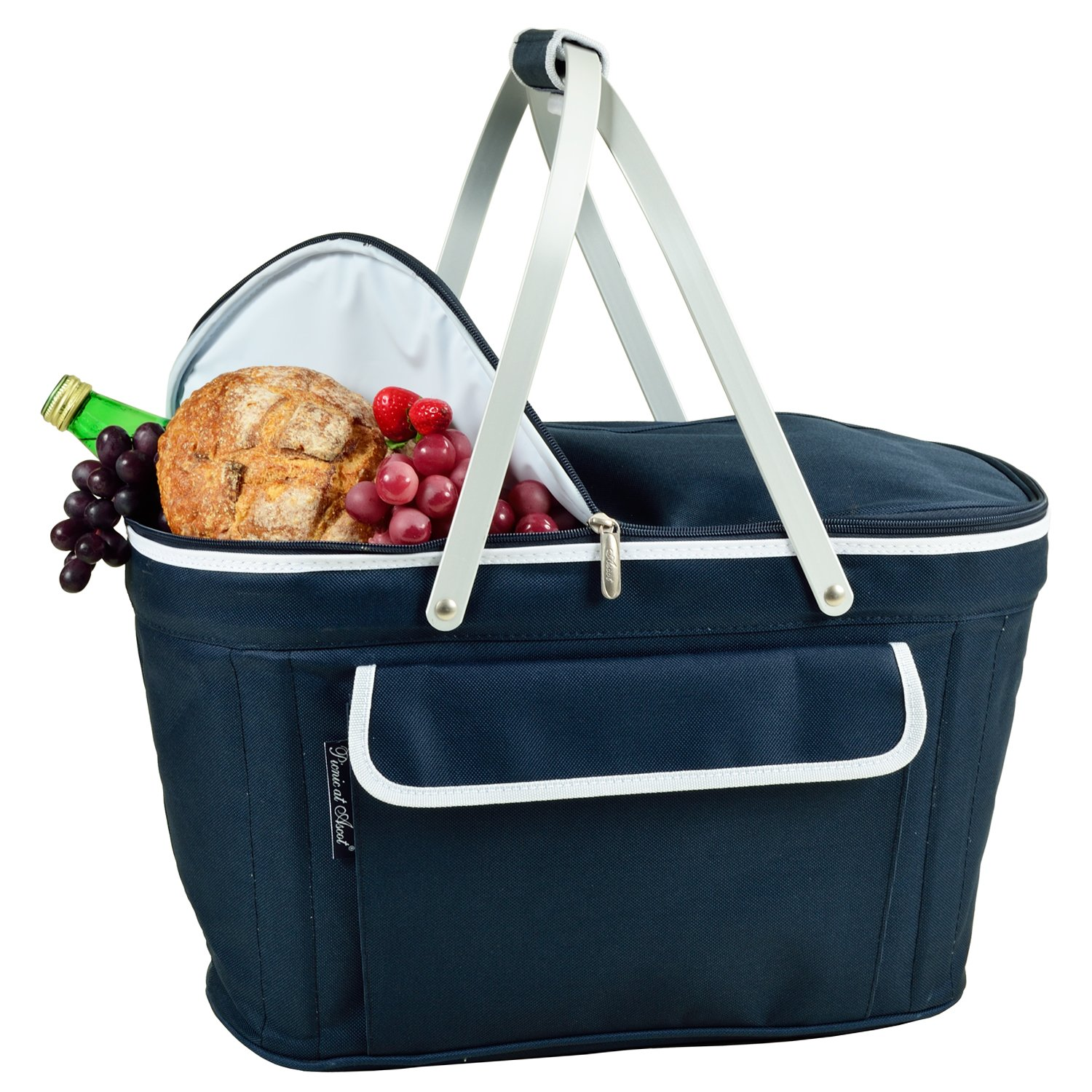 Picnic at Ascot Large Family Size Insulated Folding Collapsible Picnic Basket Cooler with Sewn in Frame - Navy