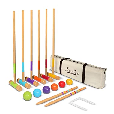 GoSports Six Player Croquet Set for Adults & Kids - Modern Wood Design with Deluxe (35 ) and Standard (28 ) Options