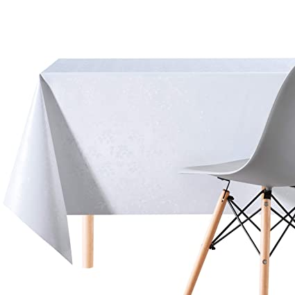 Phenomenal Luxury Crisp White Durable Pvc Wipe Clean Tablecloth With Damsk Design Flowers Embossed Premium Quality Rectangular Wipeable Vinyl Plastic Table Beutiful Home Inspiration Truamahrainfo