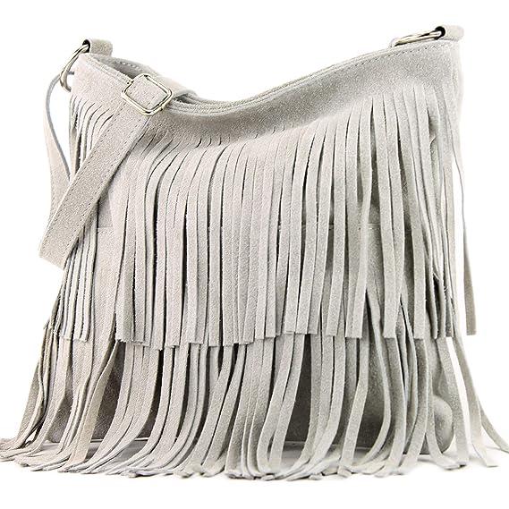 9fab113ea9 modamoda de - ital sac à bandoulière en daim frangé T125,  Couleur:Achatgrau: Amazon.fr: Vêtements et accessoires