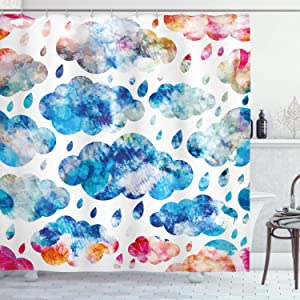 Ambesonne Modern Shower Curtain, Colorful Clouds Pattern with Raindrops Rainy Weather Sky Illustration, Cloth Fabric Bathroom Decor Set with Hooks, 70