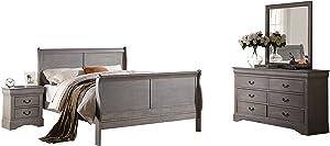 Acme Furniture Louis Philippe III Twin 4-Piece Bedroom Set, Antique Gray
