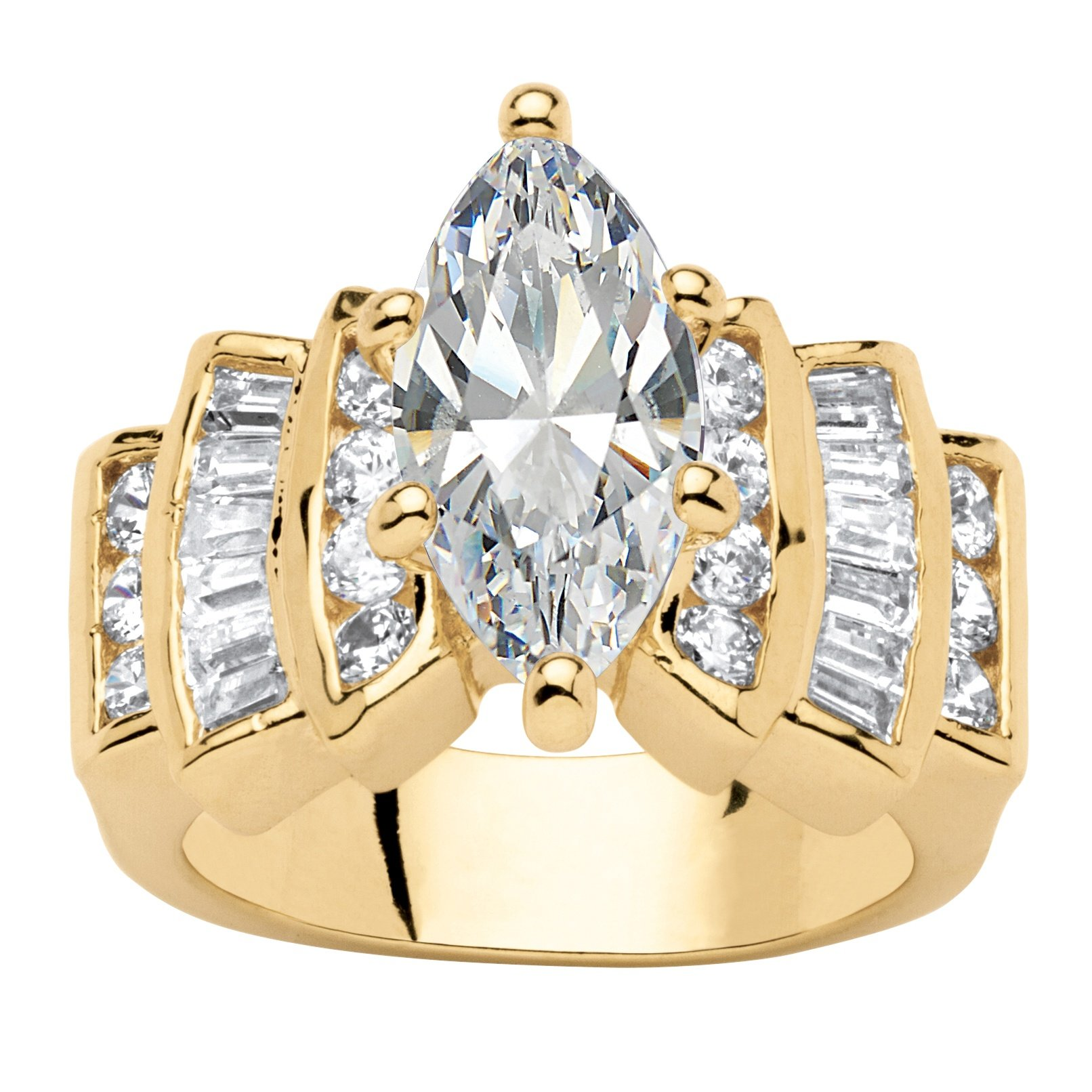 Palm Beach Jewelry 14K Yellow Gold-plated Marquise Cut Cubic Zirconia Step Top Engagement Anniversary Ring Size 10