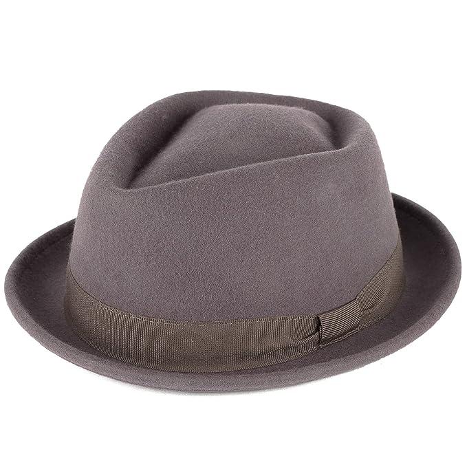 Cappello Pork Pie Forma a Diamante Lana Grigio 52ed8522b41e