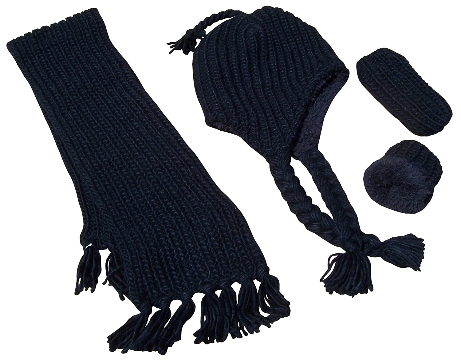 N'Ice Caps Boys and Baby Bulky Knit 3PC Hat/Scarf/Mitten Set with Sherpa Lining