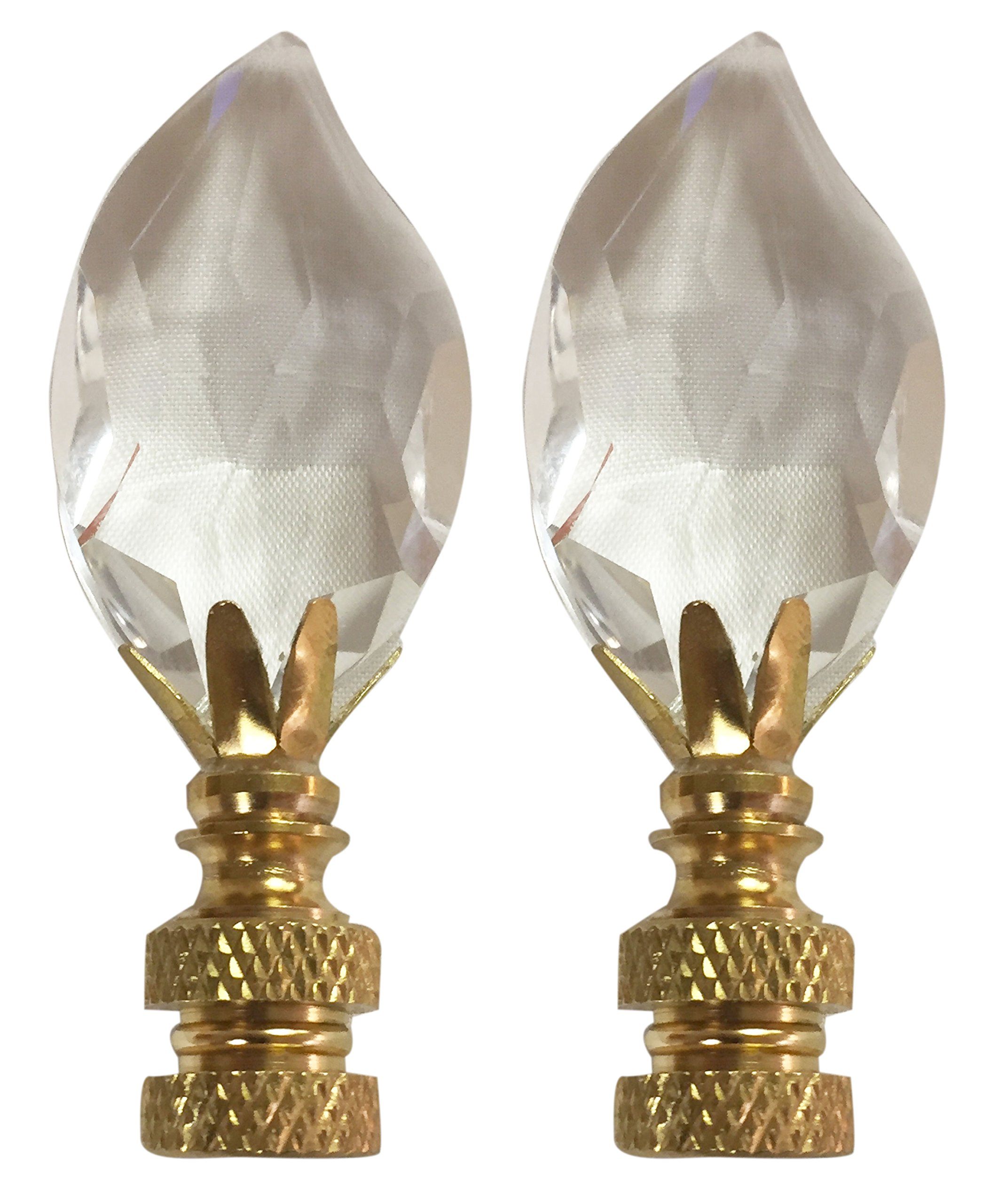 Royal Designs CCF2014-PB-2 Leaf Cut Clear K9 Crystal Finial for Lamp Shade with Polished Brass Base Set of 2, 2 Piece