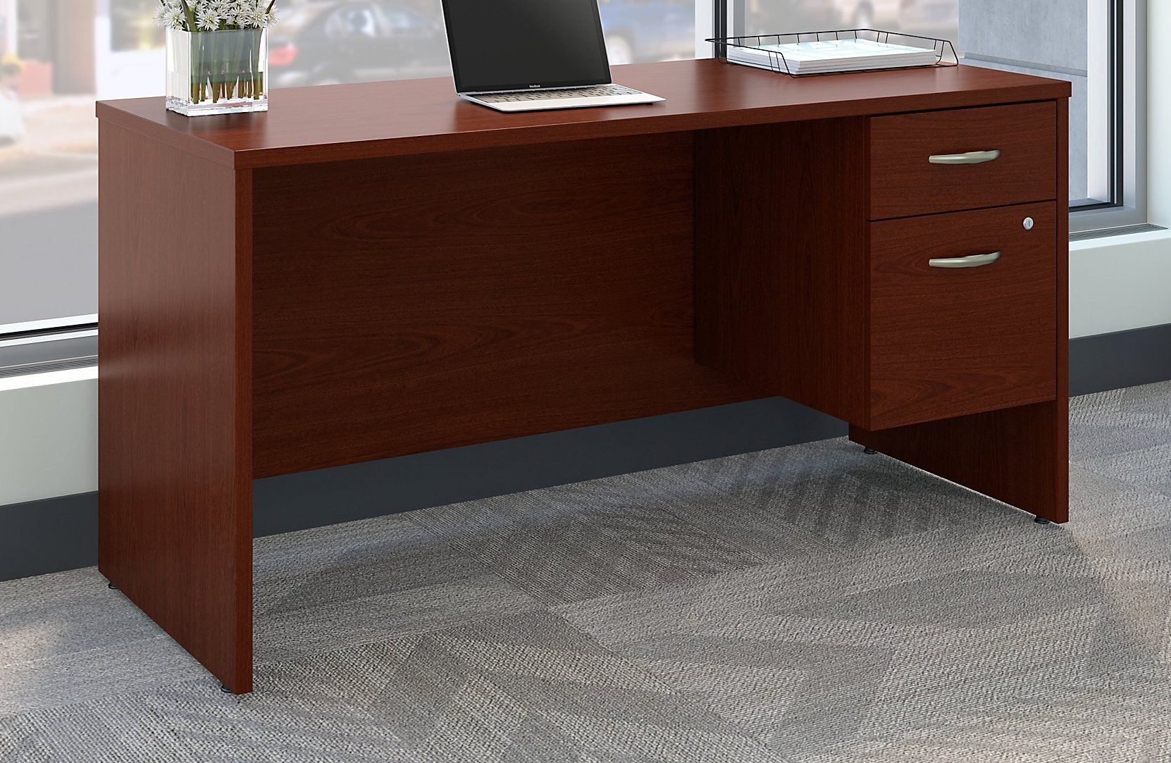 Series C 60W x 24D Office Desk with 3/4 Pedestal in Mahogany by Bush Business Furniture