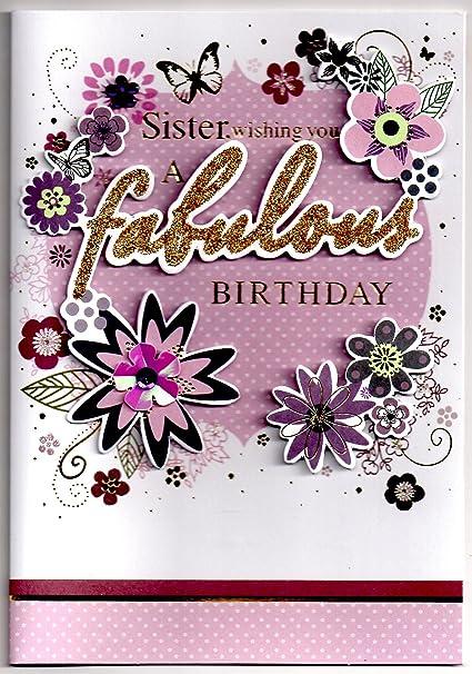 Hecho a mano hermana Tarjeta de cumpleaños, libre 1st clase ...