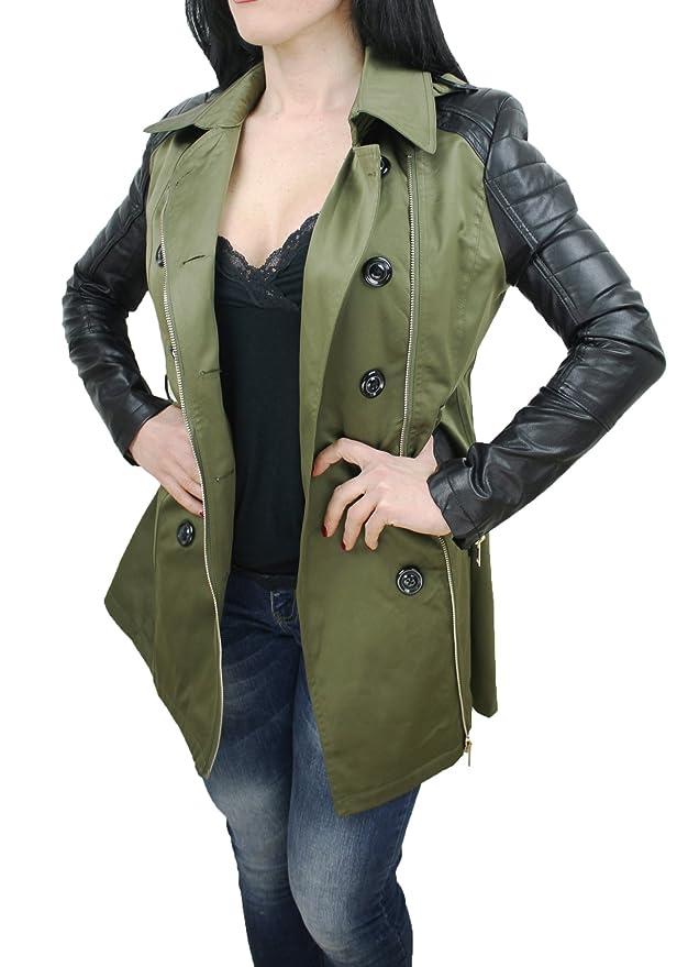 Giubbotto trench donna verde nero casual giacca parka con maniche in pelle   Amazon.it  Abbigliamento efd8e4647c67