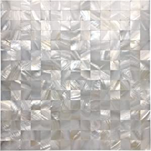 """Art3d Peel and Stick Mother of Pearl Shell Mosaic Tile for Kitchen Backsplashes, 12"""" x 12"""" White (6 Pack)"""