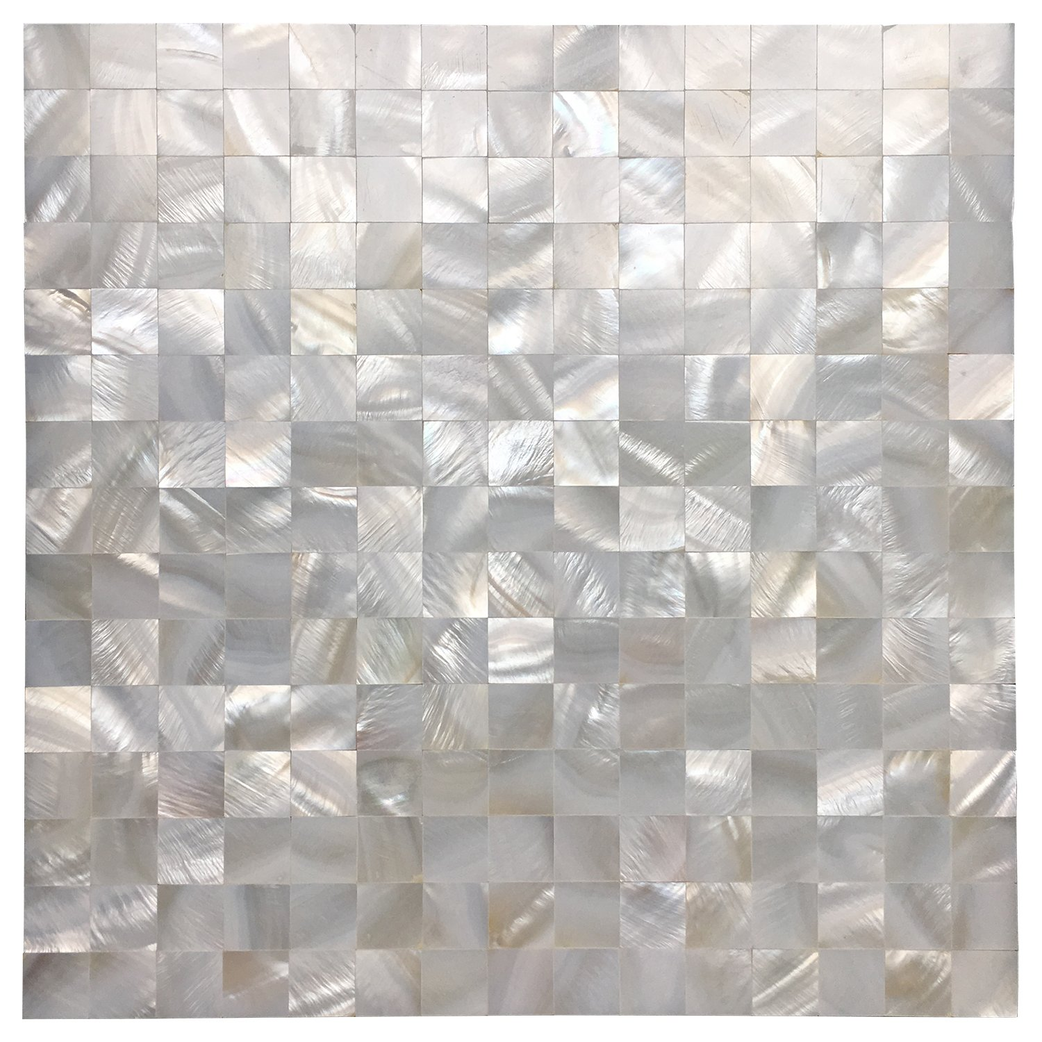 Art3d Peel and Stick Mother of Pearl Shell Mosaic Tile for Kitchen Backsplashes, 12'' x 12'' White (6 Pack) by Art3d