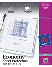"""Avery Economy Clear Sheet Protectors, 8.5"""" x 11"""", Acid-Free, Archival Safe, Top Loading, 100ct (75091)"""
