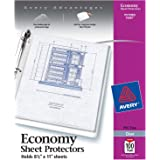 "Avery Economy Clear Sheet Protectors, 8.5"" x 11"", Acid-Free, Archival Safe, Top Loading, 100ct (75091)"